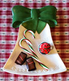 Plat décoratif de Noël avec des festins de vacances image stock