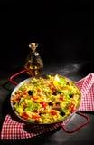 Plat délicieux de Paella de verduras de veggie Photographie stock libre de droits