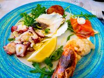 Plat délicieux des fruits de mer mélangés frais photos libres de droits