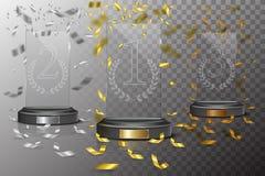 Plat d'or, argenté et en bronze en verre de podium de gagnant avec les confettis en baisse sur le fond transparent Illustration d Image libre de droits