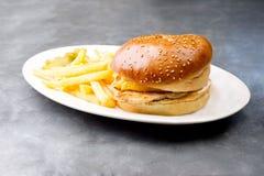 Plat d'hamburger de poulet avec les pommes frites et la salade Photographie stock libre de droits