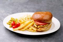 Plat d'hamburger de poulet avec les pommes frites et la salade Photographie stock