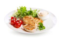 Plat de blanc de poulet grillé avec des légumes Photos stock