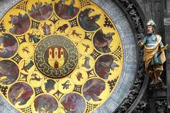 Plat de calendrier dans l'horloge astronomique de Prague Photo libre de droits