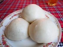 Plat de circulaire de Mantou Photo stock
