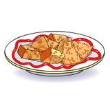 Plat de cuvette de vaisselle avec des croûtons de pain d'apéritif Illustration de vecteur illustration de vecteur