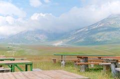 Platô de Fonte Vetica, área de acampamento, Abruzzo, Itália Fotografia de Stock