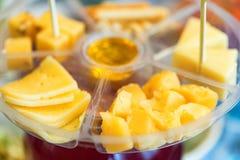 Plat de fromage en plastique avec de diverses sortes de fin de fromage Photographie stock