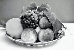 Plat de fruit noir et blanc Image libre de droits