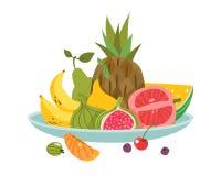 Plat de fruits L'apéritif frais de santé délicieuse de régime de déjeuner de fruit de plat de cuvette de dîner, vecteur de bande  illustration libre de droits