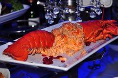 Plat de homard dans la lumière pourpre Photo stock