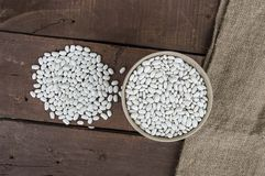 Plat de l'haricot, haricot avec des grains pour rendre le repas pousses fraîches et naturelles de haricot sec, dans un plat sur u Photos libres de droits