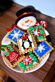 Plat de plat de biscuit de bonhomme de neige Image stock