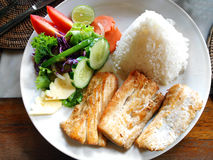 Plat de poisson avec de la salade latérale végétale Image libre de droits