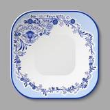Plat de porcelaine carré avec un modèle bleu dans le style de la peinture nationale de porcelaine illustration stock