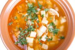 Plat de potage aux légumes d'isolement sur le fond blanc Photographie stock libre de droits