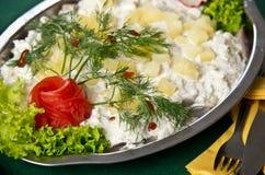 Plat de salade d'harengs Images libres de droits
