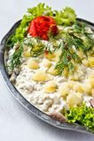 Plat de salade d'harengs Photos stock