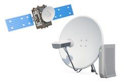 Plat de satellite de télécommunications avec le câble LAN Concept satellite d'accès Internet rendu 3d illustration libre de droits