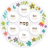 Plat de seder de pâque avec la décoration florale illustration de vecteur