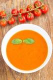 Plat de soupe à minestrone avec la tomate-cerise Images stock