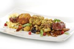 Plat de viande, cubes en variations du bifteck, grillé, pané, assaisonné Photographie stock libre de droits