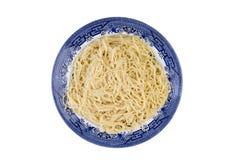 Plat des pâtes italiennes de spaghetti cuites par plaine Images libres de droits