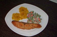 Plat des saumons grillés image libre de droits