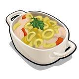 Plat diététique de viande dans la cuvette blanche de porcelaine d'isolement sur le fond blanc Illustration de plan rapproché de b Illustration de Vecteur