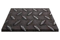 plat en acier noir de diamant d'isolement sur le blanc Photo libre de droits