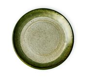 Plat en céramique vert, plat vide avec la texture de granit, vue d'en haut d'isolement sur le fond blanc avec le chemin de coupur photographie stock