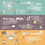 Plat ensemble nouveau-né vecteur de bannière de bébé de schéma Image stock
