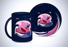 Plat et tasse avec un cygne abstrait Photographie stock libre de droits