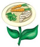 Plat fleurissant de nourriture fraîche - encre et aquarelle image stock