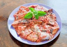 Plat frais et délicieux avec l'aubergine grillée avec la sauce tomate Photographie stock libre de droits