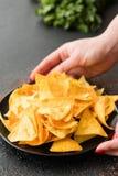 Plat frit fait maison d'offre de main de nourriture de frites de nacho image libre de droits
