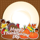 Plat heureux de vecteur de jour de thanksgiving Image stock