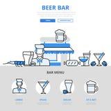 Plat icônes concept de casse-croûte de boissons de bar de barre de bière de vecteur de schéma Photo libre de droits