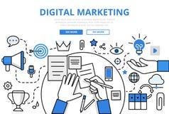 Plat icônes concept de vente de Digital de vecteur de schéma Photographie stock