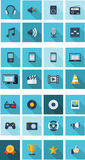 Plat - icônes de multimédia pour le smartphone Photos libres de droits