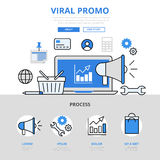 Plat icônes de promo de vente de Digital concept viral de promotion de vecteur de schéma Photos stock