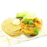 Plat légumes de shaak de masala de chou-fleur de nourriture indienne avec la tortilla photo stock