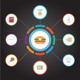 Plat plat d'icônes, fourneau électrique, épice et d'autres éléments de vecteur L'ensemble de symboles plats d'icônes de cuisine i Images libres de droits