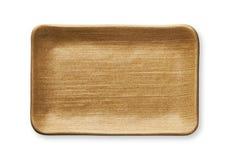 Plat rectangulaire vide dans la texture en bois naturelle, vue d'en haut d'isolement sur le fond blanc avec le chemin de coupure images stock