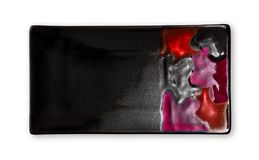 Plat rectangulaire vide, plat noir de céramique avec le modèle coloré, vue d'en haut d'isolement sur le fond blanc images stock