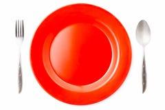 Plat rouge vide Images libres de droits