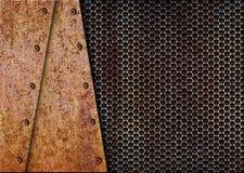 Plat rouillé de fond en métal sur le vieux gril, 3d, illustration Image libre de droits