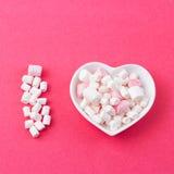 Plat sous forme de coeur avec une guimauve sur un fond rose Photos libres de droits