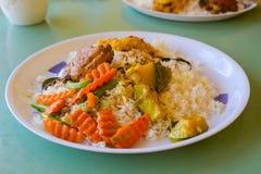 Plat sri-lankais de riz et de cari Image libre de droits