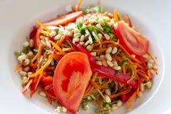 Plat végétarien des carottes, courgette, champignons, tomates, sprou photo stock
